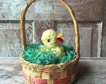 vintage easter basket with duckling