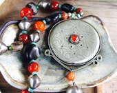 SALE Turkoman Silver and Carnelian Pendant Necklace Old Carnelian Banded Black Agate Beads Turquoise Heishi African Silver Ethnic Jewelry