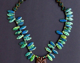 Little Owl in the Leaves Necklace Carved Sono Wood Owl w Blue and Lime Green Czech Glass Nature Jewelry
