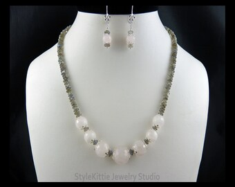 Rose Quartz, Labradorite Rainbow, 925 Sterling Silver, Adjustable Necklace, Dangle Earrings, Gemstone, Grey, Pink, Two Piece Set, Jewelry