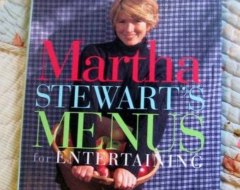 Vintage Martha Stewarts Menus for Entertaining Hardcover Book