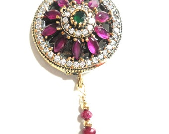 "Ruby Pendant Exotic Vintage Turkish Ruby Emerald and White Topaz Pendant with Ruby Dangle in Gold over Solid Sterling 18"" 14k GF box chain"
