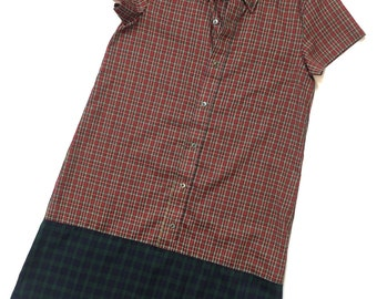 Red Plaid Green Plaid Upcycled Mix Print Shirtdress Dress