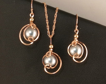 Gray Pearl Rose Gold Necklace Gift Set, Gray Pearl Chain Necklace Set, Pearl Jewelry Gift Set