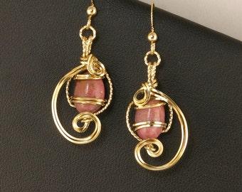 Rose Pink Rhodonite Gemstone Gold Drop Earrings, Wire Sculpture Gold Rose Pink Earrings, Unique Wire Art Earring Pink Gift