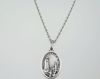 Our Lady of Fatima and Sacred Heart Medal Necklace
