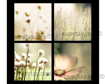 on Sale - Flower Photography, Baby Girl Nursery Bedroom Wall Art Pink Mint, Pastel Bedroom Decor, Set of 4 Prints,
