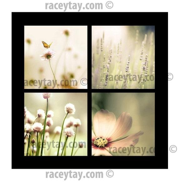 SALE, Flower Photography, Pink, Mint, Pastel Prints, Girl Nursery Decor, Set of 4 Prints, Mint Green