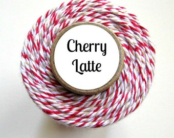 Red, White, and Kraft Bakers Twine by Trendy Twine - Cherry Latte - Christmas, Rustic, Vintage, Country, Holiday, Treats Favors, Baking