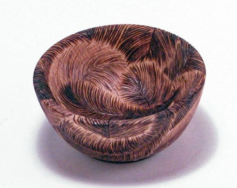 Woodburning Feather Bowl