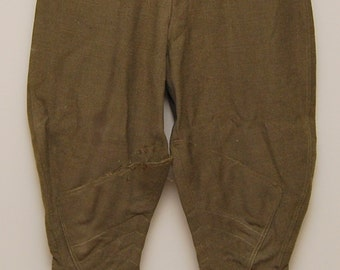1920-30s green wool military riding pants