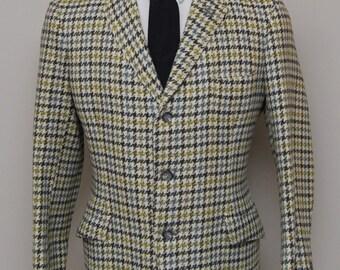 1960s men's multicolor houndstooth check wool blazer/ 60s men's blazer/ R.W. Forsyth