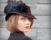 Victorian Fedora Tilt Hat Burgundy Black Ostrich feather