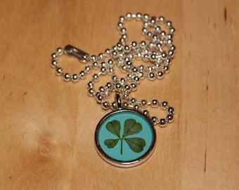 Real Four Leaf Clover Charm Necklace Shamrock Necklace