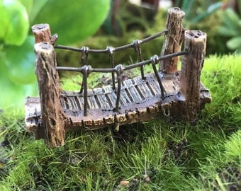 Micro Mini Fairy Garden Suspension Bridge,  Fairy Garden Accessory, Home & Garden Decor, Terrarium, Topper, Shelf Sitter, Enchanted Garden
