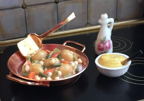SALE Miniature Vegetable Skillet Set by Reutter, Dollhouse Miniatures, 1:12 Scale, Dollhouse Food, Miniature Food, Porcelain Dishes