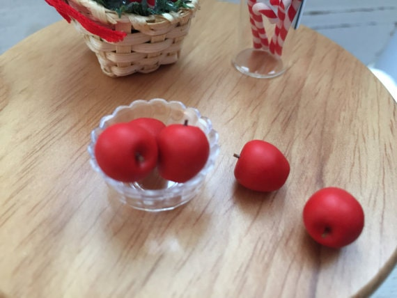 Miniature Apples, Dollhouse Miniatures, 1:12 Scale, Miniature Food, Fruit, Dollhouse Apples, Mini Red Apples