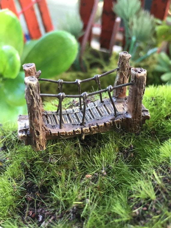 Micro Mini Fairy Garden Suspension Bridge,  Fairy Garden Accessory, Home & Garden Decor, Terrarium, Topper, Shelf Sitter, Enchanted Garden