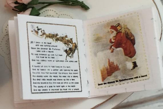 Miniature Night Before Christmas, Readable Miniature Book, 1:12 Scale, Dollhouse Miniature, Tiny Book, Holiday Decor, Dollhouse Accessory
