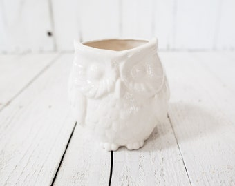 Ceramic Owl Planter - Medium White - Custom