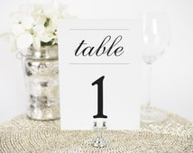 "Simple Elegance Wedding Table Numbers - 5x7"", Any Color - Vintage, Retro, Antique, Table Numbers - Bat Mitzvah, Party, Banquet"