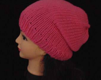 Pink Knit Slouchy Knitted Hat, Womans Accessories, Teen Hat, Beanie Hat, Slouchie Beanie, Pink Hat