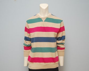 Vintage Woolrich Women's Thick Long Sleeve T-Shirt/Sweatshirt with Beige, Magenta and Turquoise Stripes - Medium