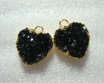 reduced from 22.90,Druzy Drusy Heart Pendant 24K Gold Edged, Beautiful Black Druzy Heart Pair,earring Findings,12mm, o11-blk