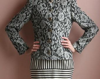 1980's Ungaro Fuzzy Floral Blazer / Sexy Secretary Sexy CEO / Gray Tones / Size Small