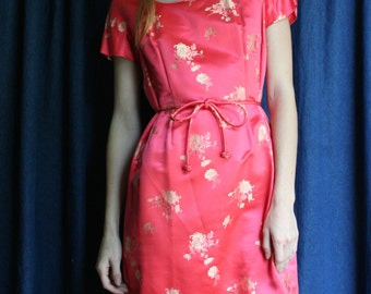 1960's Cocktail Dress / Asian Inspired Silk Satin Party Dress / Wedding Bridal Party / Bridesmaid Anniversary Dress / Salmon Pink Dress