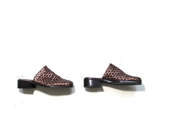 Vintage Leather Mules 6 / Metallic Leather Mules / Woven Leather Clogs