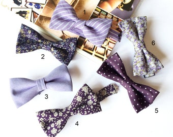 Wedding Set of 6 Lavender, Purple Men's Bow Ties, Groomsmen Bow Ties, Mismatched Wedding Bow Ties