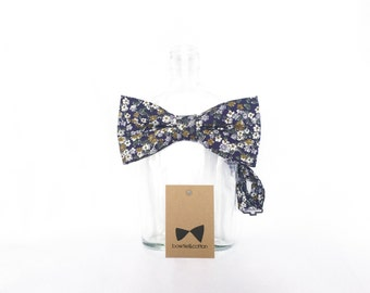 Dylan - Navy/Mustard Yellow Floral Men's Pre-Tied Bow Tie or Self-Tied Bow Tie