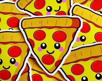 Happy Pizza Vinyl Sticker 10cm, fun food sticker, cute laptop sticker, kawaii pizza illustration, vinyl laptop sticker, pizza slice sticker