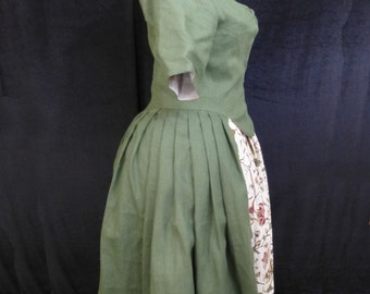 Common Woman's Linen Dress, Robe A L'Anglaise, 18th Century, size 18
