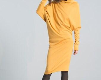 Casual Dress / Winter Dress / Day Dress / Knit Dress / Black Dress / Extravagant Tunic / Midi Dress / Marcellamoda - MD0371