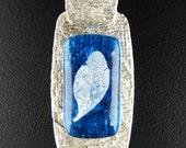Fine Silver Aqua Fused Glass Leaf Slide Pendant