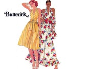 70s Halter Dress Flounced Maxi Dress Pattern Butterick 4295 Boho Vintage Sewing Pattern Size 12 Bust 34 inches