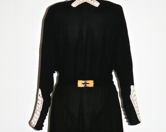 1920s 30s Dress, Art Deco Velvet Dress with Clasp Belt, Nelson - Hickson New York Paris Large