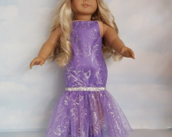 18 inch doll clothes - #234 Purple Dropwaist Gown handmade to fit the American Girl Doll - Free Shipping