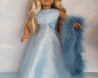 18 inch doll clothes - #253 Light Blue Sparkly Gown handmade to fit the American Girl Doll - FREE SHIPPING