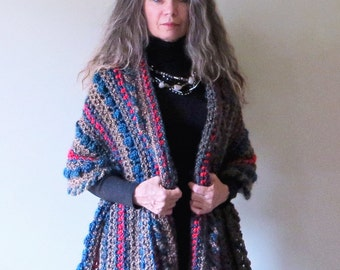 "Crochet Shawl PATTERN / Wrap with Buttons / PDF Download / Striped Shawl / Poncho / Made in Canada / ""Sequoia Wrap"""