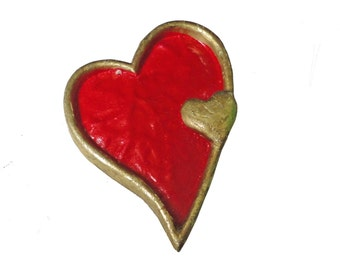 HEART inside a HEART vintage pin lapel brooch badge Cupid