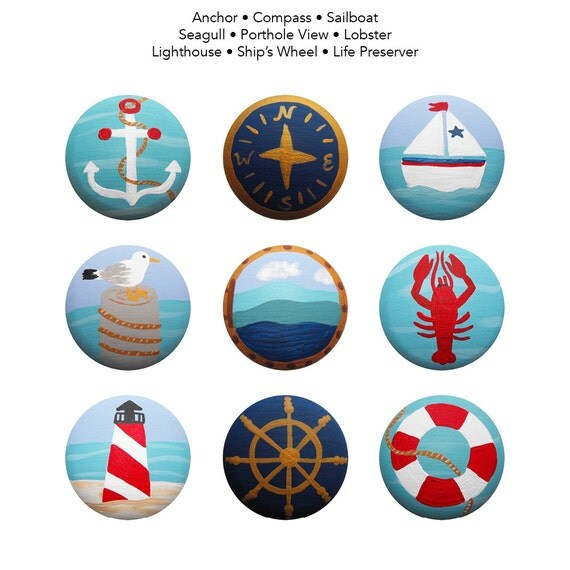 Hand Painted Knob - Children's New England Ocean Nantucket Cape Cod Style Nautical Drawer Knobs Pulls or Nail Covers for Kids