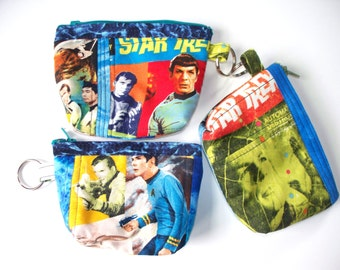 Star Trek Quilted Coin Purse,Your Choice,Quilted Inside/Out,Key Clip,Coin Purse Handcrafted,Leonard Nemo Spock,Captain Kirk,Enterprise