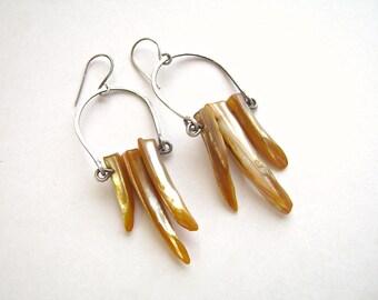 Silver Earrings, Hoop Earrings, Mother of Pearl, Silver Hoop Earrings, Handmade Jewelry, Silver Filled, Oxidized Silver, MOP Earrings, 964