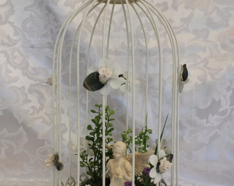 Angel And Bird In A Large Bird Cage - Decorative Bird Cage - Angel - Fairy Display