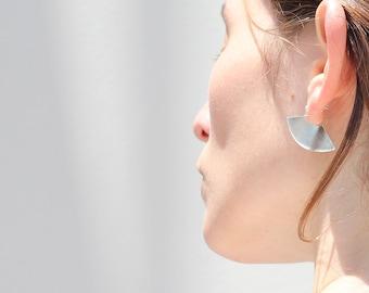 Kimur Earrings. Fan shaped statement earrings in sterling silver.