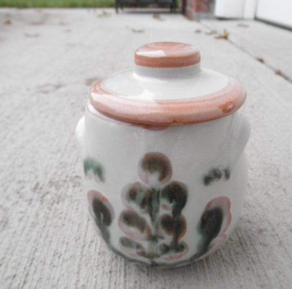 M A Hadley Pottery Jar Covered Jam Or Sugar Green Pear And