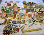 vintage notions lot - destash lot - instant sewing kit - set a